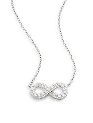 Ak Anne Klein Sterling Silver Pave Infinity Pendant Necklace