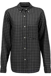 Etoile Isabel Marant Ramon Checked Crinkled Chambray Shirt Charcoal