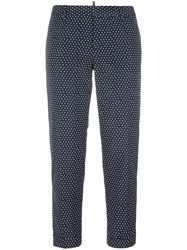 Dsquared2 Square Pattern Capri Trousers Blue