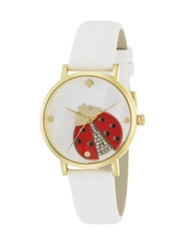 Kate Spade Novelty Metro Ladybug Enamel Crystal Goldtone Stainless Steel And Saffiano Leather Strap Watch White Gold