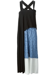 Toga Pulla Panelled Floral Print Draped Maxi Dress Black