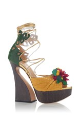 Charlotte Olympia Chica Chica Boom Lace Up Platform Sandal Yellow