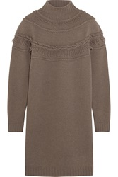 Agnona Fringed Wool And Cashmere Blend Mini Sweater Dress