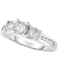 Trumiracle Diamond Trinity Engagement Ring 1 2 Ct. T.W. In 14K White Gold