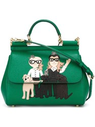 Dolce And Gabbana Designers Patch 'Sicily' Tote Green