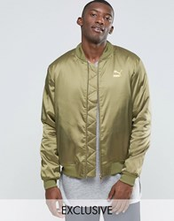 Puma Luxe Bomber Jacket In Khaki Exclusive To Asos Green