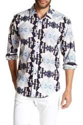 1 Like No Other Long Sleeve Woven Geometric Classic Fit Shirt Blue