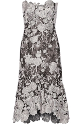 Notte By Marchesa Strapless Embroidered Lace Midi Dress