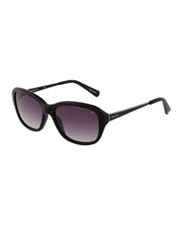 Nina Ricci Stripe Detail Round Acetate Sunglasses Black