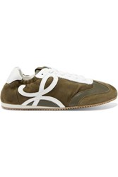 Loewe Suede And Leather Sneakers Army Green