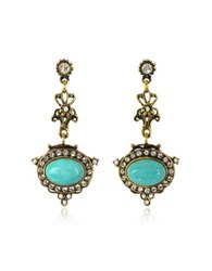 Alcozer And J Magnesite Goldtone Brass Earrings W Crystals