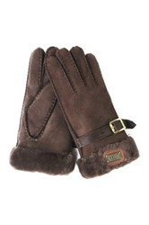 Australia Luxe Collective Genuine Shearling Cuff Gloves Brown