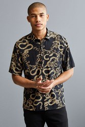 Urban Outfitters Uo Baroque Short Sleeve Button Down Shirt Black