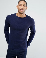 Selected Homme Crew Neck Knit In Marl Blue Print
