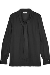 Frame Pussy Bow Washed Silk Blouse Black