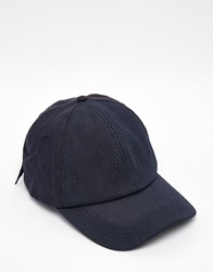 Asos Baseball Cap In Navy With Crocodile Effect
