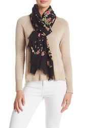 Rebecca Minkoff Mixed Floral Oblong Scarf Black