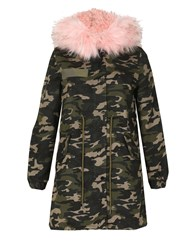 Izabel London Camouflage Fur Trim Parka Pink