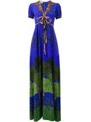 Gucci Sequin Embellished Printed Gown Blue