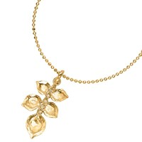 Dower And Hall White Topaz Wild Rose Leaf Pendant Necklace Gold