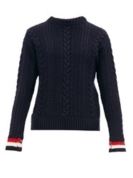 Thom Browne Tricolour Striped Cable Knit Wool Sweater Navy