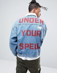 Asos Denim Jacket In Oversized Fit With Back Print And Borg Collar In Mid Wash Mid Wash Blue