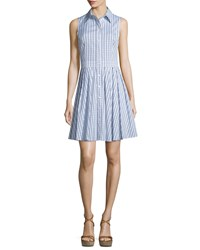 Michael Kors Collection Sleeveless Gingham Button Front Shirtdress White Indigo Women's Size 10 Optic White Indig
