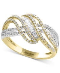 Effy Duo By Diamond Crisscross Swirl Ring 3 4 Ct. T.W. In 14K Gold And White Gold Two Tone