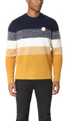 Kenzo Wool Mohair Striped Pullover Ink