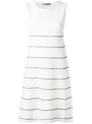 D.Exterior Embroidered Trim Dress White