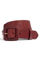 Madewell Leather Covered Buckle Belt Rich Brown