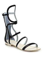 Dannijo Isla Geometric Leather Gladiator Sandals Black