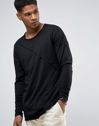 Only And Sons Longline Long Sleeve T Shirt With Raw Stitch Detail Black