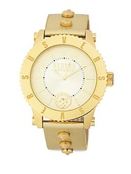 Versus By Versace Studded Stainless Steel Leather Strap Watch Yellow Gold