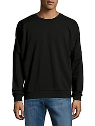 Saks Fifth Avenue Solid Loose Fit Cotton Blend Pullover Black