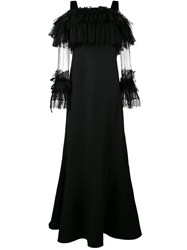 Alberta Ferretti Floor Length Gown With Lace Sleeves Silk Cotton Wool Black