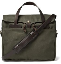 Filson Original Leather Trimmed Twill Briefcase Green