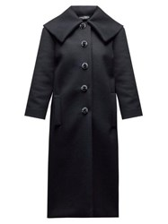 Dolce And Gabbana Crystal Button Single Breasted Wool Coat Black