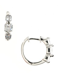Lord And Taylor Platinum Plated Sterling Silver And Cubic Zirconia Huggie Hoop Earrings