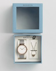 Skagen Ancher Mesh Watch And Heart Pendant Gift Set Silver