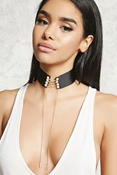 Forever 21 Faux Pearl Drop Chain Choker Black Gold