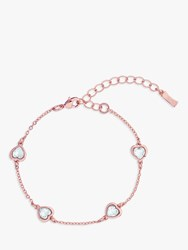 Ted Baker Heniee Swarovski Crystal Heart Chain Bracelet Rose Gold Clear