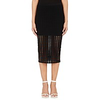 Alexander Wang T By Women's Perforated Fitted Midi Skirt Black Blue Black Blue