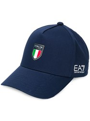 Emporio Armani Ea7 Logo Embroidered Cap Blue
