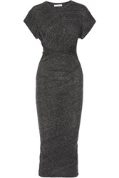 Iro Pacson Twist Front Melange Cotton And Modal Blend Dress Dark Gray