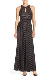 Women's London Times Embellished Shadow Stripe Fit And Flare Gown
