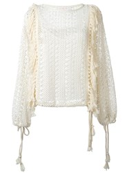 See By Chloe Fringed Crochet Top White