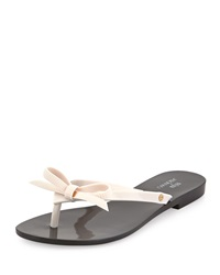 Melissa Shoes Harmonic Bow Jelly Thong Sandal Black White