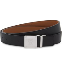 Mcm Plaque Leather Belt Black