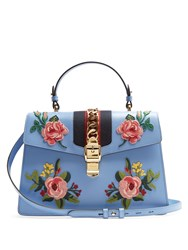 Gucci Sylvie Large Floral Applique Leather Shoulder Bag Light Blue